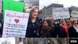 白宫附近的拉斐叶公园有人示威,抗议美国总统川普签署的有关移民的禁令。(2017年1月29日)