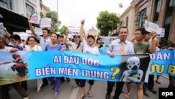 Người dân Việt Nam biểu tình phản đối vụ cá chết hàng loạt ở ba tỉnh miền Trung, ngày 1/5/2016