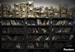 Various court case documents are pictured outside a courthouse along a hallway in Quezon City, Metro Manila, Philippines, June 5, 2017