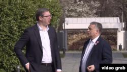 Predsednik Srbije Aleksandar Vučić i premijer Mađarske Viktor Orban, Foto: video grab