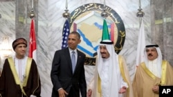 美國總統奧巴馬參加在沙特阿拉伯利雅得召開的海灣合作委員會峰會。(2016年4月21日)