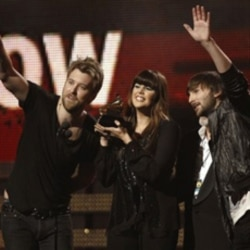 Members of Lady Antebellum, from left, Charles Kelley, Hillary Scott and Dave Haywood