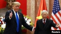 Tổng thống Hoa Kỳ Donald Trump và Tổng Bí thư -Chủ tịch nước Nguyễn Phú Trọng tại Hà Nội, ngày 27/2/2019.