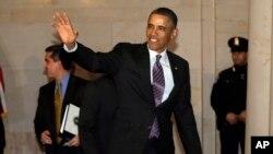 Барак Обама после встречи в Конгрессе. Вашингтон, округ Колумбия. 14 марта 2013 года