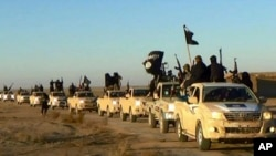 FILE - Militants of the Islamic State group hold up their weapons and wave flags on their vehicles in a convoy on a road leading to Iraq, while riding in Raqqa, Syria.