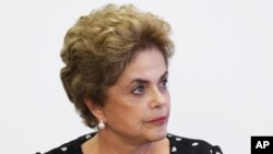 Tổng thống Brazil Dilma Rousseff tại một cuộc họp tại Brasilia, ngày 13/4/2016.