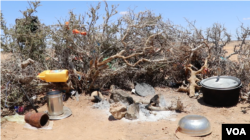 Fatuma Warsama's belongings are seen in a temporary camp in the Puntland desert, Somalia, March 2017 (N. Wadekar/VOA). Pastoralists like Fatuma travel miles in search of water and pasture.