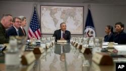 El presidente Obama habló durante una reunión del Consejo de Seguridad Nacional, el jueves, 25 de febrero de 2016.