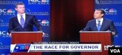 Phó Thống đốc Gavin Newsom và cựu Thị trưởng Los Angeles ông Antonio Villagairosa trong buổi tranh luận giữa các ứng viên thống đốc California ở San Jose hôm 7/5/18 (Screenshot NBC)