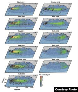 Map showing the distribution of Fukushima radiation cred: Ken Buesseler