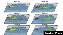 Mapa de Ken Buesseler muestra la radiación oceánica después del desastre de Fukushima.