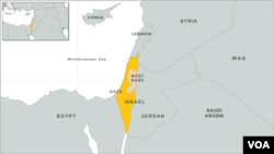 Peta wilayah Israel, Gaza, dan Tepi Barat.