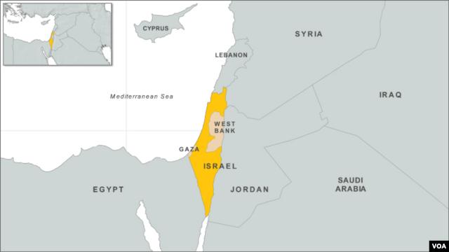 Israel, Gaza, West Bank map