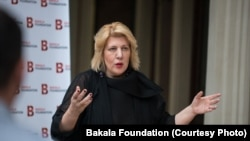 Czech Republic -- Dunja Mijatovic, former OSCE Representative on Freedom of the Media, at the opening diner of Journey: Journalism Bootcamp 2017, Prague, August 7, 2017
