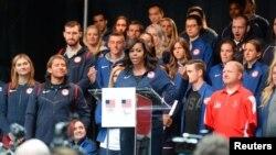 میشل اوباما در جمع ورزشکاران المپیکی آمریکا