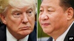 En esta combinación de fotos de archivo se ve al presidente de EE.UU., Donald Trump (izquierda) el 28 de marzo, de 2017, en Washington, y al presidente chino, Xi Jinping, el 22 de febrero, de 2017, en Beijing.