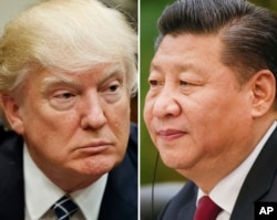 FILE - This combination of file photos shows U.S. President Donald Trump, March 28, 2017, in Washington (left), and Chinese President Xi Jinping, Feb. 22, 2017, in Beijing.