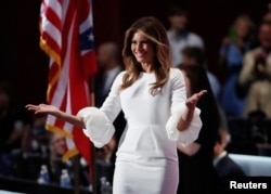 Melania Trump takes the stage after her introduction at the Republican National Convention in Cleveland, Ohio, July 18, 2016.
