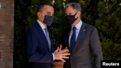 Госсекретарь Энтони Блинкен и глава МИД Италии Луиджи Ди Майо. 27 июня 2021 г.