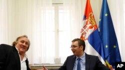 Francuski glumac Žerar Depardje i srpski premijer Aleksandar Vučić u Beogradu, 4. septembra 2014.