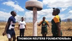 Velme Nyarumwe, with their coach Patricia Mukunike-Chakanya, Cathrine Muranganwa and Trish Kandemiri in the newly erected jungle gym at Sahumani Secondary. Honde Valley, September 11 2020, Thomson Reuters Foundation/Farai Shawn Matiashe
