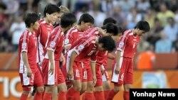북한 여자 축구 월드컵 대표 선수들(자료사진)