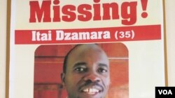 Posters of missing activist Itai Dzamara.