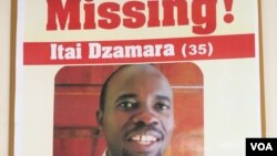 Posters of missing activist Itai Dzamara. Some civic organizations in Zimbabwe have offered $2000 for information leading to Dzamara's whereabouts. (Sebastian Mhofu/VOA)