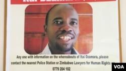 Posters of missing activist Itai Dzamara. Some civic organizations in Zimbabwe have offered $2000 for information leading to Dzamara's whereabouts. (Sebastian Mhofu/VOA)