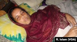 Opposition BNP activist Marina Begum is lying at her home at Sirajganj, Bangladesh, blinded by pellets reportedly fired by police.