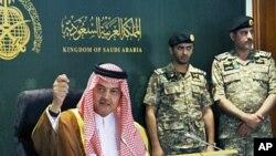 Saudijski ministar vanjskih poslova princ Saud al-Faisal poziva na dijalog, umjesto prosvjeda, na tiskovnoj konferenciji u Jeddi, 9. ožujka 2011.