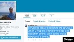 Ceyms Uorlikin Twitter hesabı