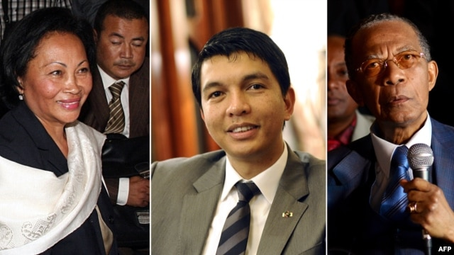 This combination of file pictures created on June 5, 2013 shows Madagascar's presidential candidates (L-R) Lalao Ravalomanana, Andry Rajoelina and Didier Ratsiraka.