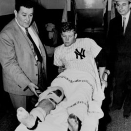 Mickey Mantle after his knee injury