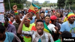 Ethiopians chant slogans during a rally in support of the new Prime Minister Abiy Ahmed in Addis Ababa, Ethiopia, June 23, 2018.