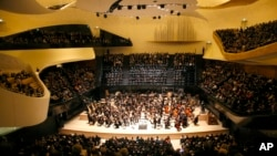 The Paris Philharmonie's main concert hall can seat 2,400 on sweeping balconies surrounding the center stage.