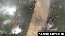 Amnesty International အဖြဲ႔မွ မီးေလာင္တဲ့ရြာမ်ားကို ၿဂိဳလ္တုစေလာင္းကေန လွမ္းထားသည့္ပံု