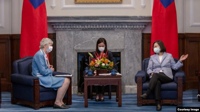 台湾总统蔡英文2020年6月5日接见英国在台办事处代表唐凯琳(台湾总统府提供)