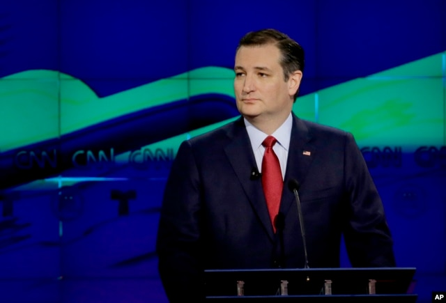 Republican presidential candidate, Sen. Ted Cruz, R-Texas, looks on during a Republican presidential primary debate at The University of Houston, Thursday, Feb. 25, 2016.