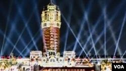台湾总统府上演光雕秀迎接双十节