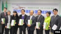 台湾在野党民进党召开中国对台军事威胁评估报告记者会(美国之音张永泰拍摄)