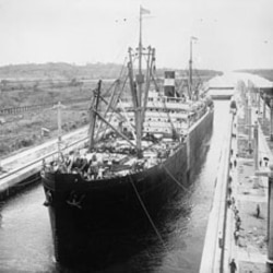 A ship entering the completed Gatun Lock on the Panama Canal