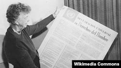 Элеонора Рузвельт, вдова президента Соединенных Штатов Франклина Рузвельта и один из авторов Всеобщей декларации прав человека