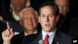 Republican presidential candidate former Pennsylvania Sen. Rick Santorum speaks during a primary night watch party Feb. 7, 2012, in St. Charles, Missouri.