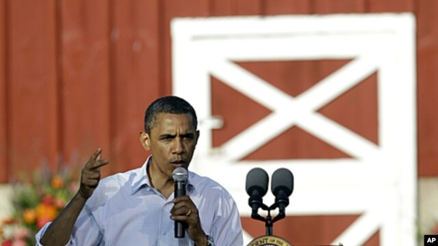 President Barack Obama speaks during a town hall meeting at Seed Savers Exchange in Decorah, Iowa, August 15, 2011