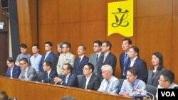 苹果日报图片 香港非建指派立法会议员周二中午举行记者会