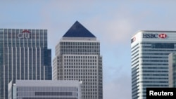 Canary Wharf financial district, east London, Nov. 12, 2014.