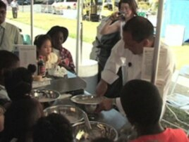 A chef was on hand to show visiting groups of school children how wheat becomes cupcakes.