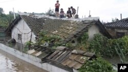 Residents wait on the roof of a flooded building in Anju City, South Phyongan Province, North Korea, July 30, 2012.
