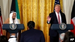 Tổng thống Trump phát biểu trong cuộc họp báo với nhà lãnh đạo Kuwait Sheikh Sabah Al Ahmad Al Sabah ở Phòng Đông Nhà Trắng, Washington, ngày 7 tháng 9, 2017.